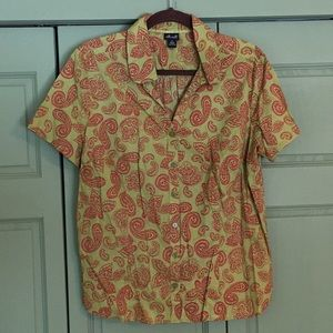 Willi Smith button down cotton top, short sleeves